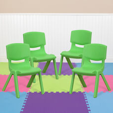 4 Pack Green Plastic Stackable School Chair with 10.5