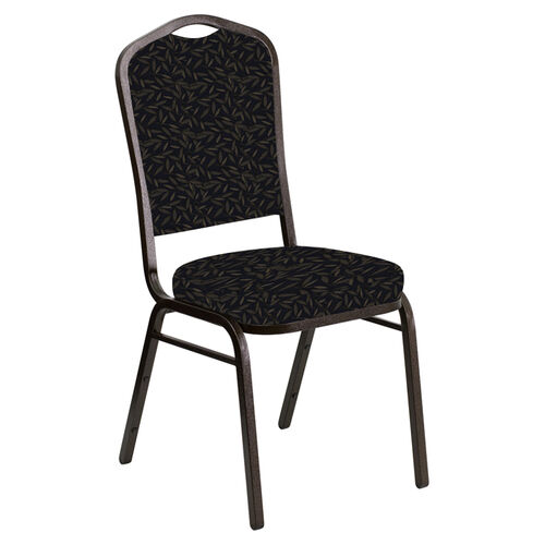Embroidered Crown Back Banquet Chair in Jasmine Blissful Blue Fabric - Gold Vein Frame