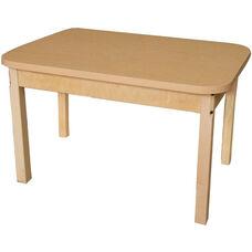 Rectangular High Pressure Laminate Table with Hardwood Legs - 48