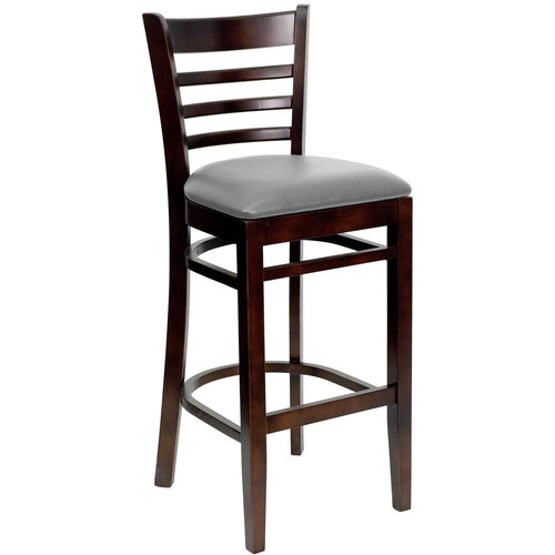 Our Walnut Finished Ladder Back Wooden Restaurant Barstool with Custom Upholstered Seat is on sale now.