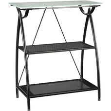 OSP Designs Tempered Glass Top Newport 2-Shelf Bookcase with Powder Coated Frame - Black