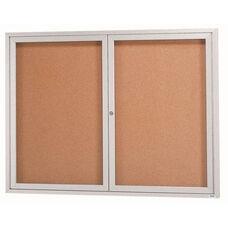 2 Door Indoor Enclosed Bulletin Board with Aluminum Frame - 48''H x 60''W