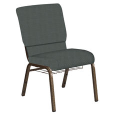 Embroidered 18.5''W Church Chair in Canterbury Pewter Fabric with Book Rack - Gold Vein Frame