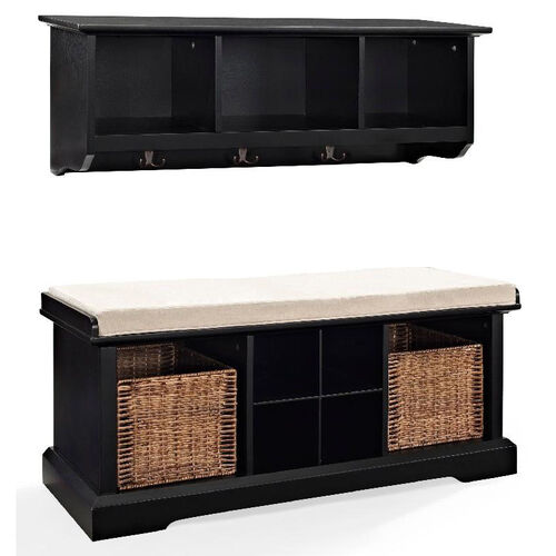 Our Brennan 2 Piece Entryway Bench And Shelf Set Black Is On Now
