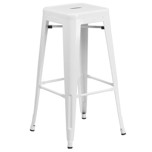 """Our Commercial Grade 30"""" High Backless White Metal Indoor-Outdoor Barstool with Square Seat is on sale now."""