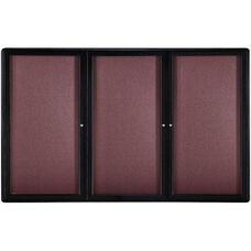 Ovation 3-Door Merlot Fabric Bulletin Board with Black Aluminum Frame - 72