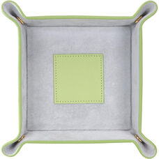 Suede Lined Catchall Valet Tray - Top Grain Nappa Leather - Key Lime Green and Gray