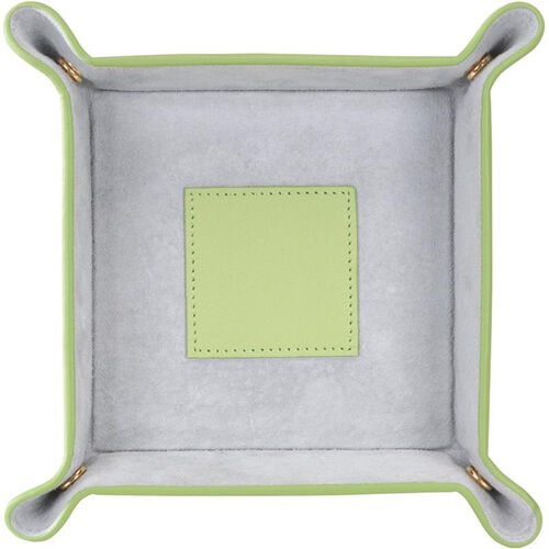 Our Suede Lined Catchall Valet Tray - Top Grain Nappa Leather - Key Lime Green and Gray is on sale now.