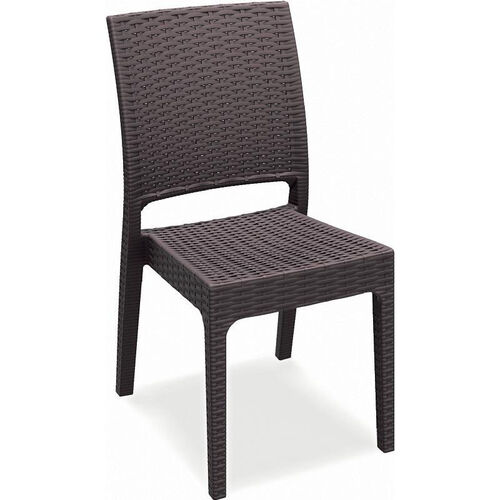 Florida Outdoor Wickerlook Resin Stackable Dining Chair - Brown