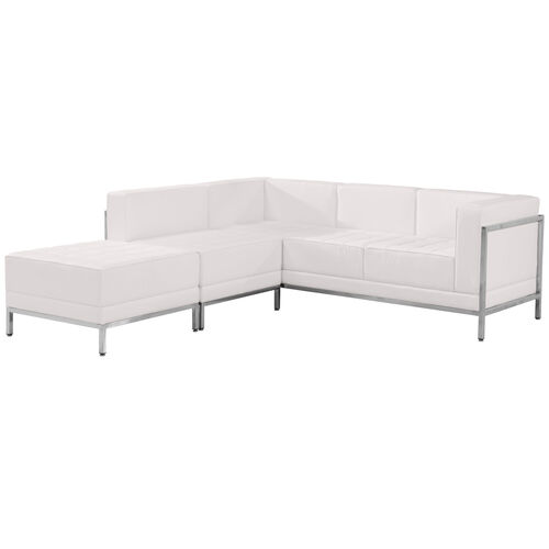 HERCULES Imagination Series Melrose White LeatherSoft Sectional Configuration, 3 Pieces