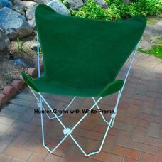 Folding Butterfly Chair with White Steel Frame and Cotton Cover - Hunter Green