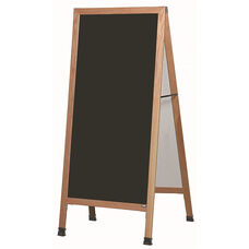 Extra Large A-Frame Sidewalk Board with Black Porcelain Marker Board and Clear Lacquer Finished Solid Red Oak Frame - 30