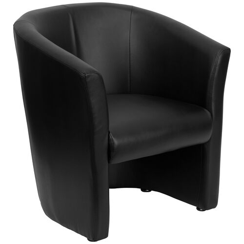 Our Black Leather Barrel-Shaped Guest Chair is on sale now.