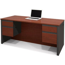 Prestige + Executive Desk with Dual Half Pedestals with 2 Filing Drawers - Bordeaux and Graphite