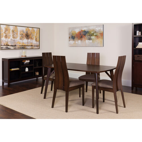 Our Dearborn 5 Piece Espresso Wood Dining Table Set with Wide Slat Back Wood Dining Chairs - Padded Seats is on sale now.
