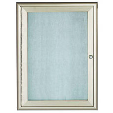 1 Door Enclosed Bulletin Board with Aluminum Waterfall Style Frame - Silver - 24