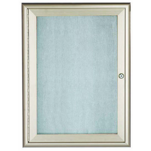 Our 1 Door Enclosed Bulletin Board with Aluminum Waterfall Style Frame - 24