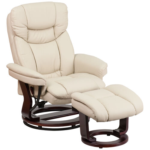 Our Recliner Chair with Ottoman | Beige LeatherSoft Swivel Recliner Chair with Ottoman Footrest is on sale now.