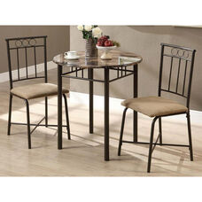 Metal 3 Piece Bistro Set with Faux Marble Top - Cappuccino