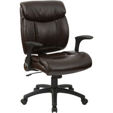 Work Smart Oversized Faux Leather Managers Chair with Flip Up Arms - Chocolate