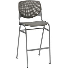 2300 KOOL Series Stacking Poly Armless Barstool with Perforated Back and Silver Frame - Brownstone