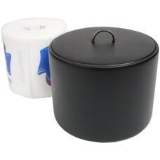 Toilet Tissue Paper Holder - Genuine Leather - Black
