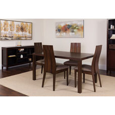Elston 5 Piece Espresso Wood Dining Table Set with Wide Slat Back Wood Dining Chairs - Padded Seats