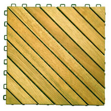Outdoor Patio 12-Diagonal Slat Interlocking Deck Tile - Set of 10