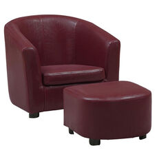 Juvenile Faux Leather Chair Set with Matching Ottoman Set - Red