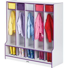 Rainbow Accents Coat Locker with Step - 5 Sections