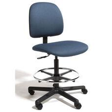 Centris Medium Back Mid-Height Drafting Cleanroom ESD Chair - 4 Way Control - Black Vinyl