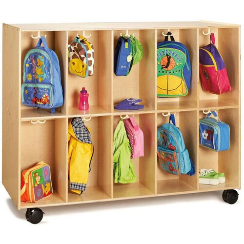 Our Double Sided 20 Section Mobile Backpack Cubbie with 20 Double Coat Hooks - 60