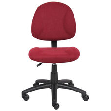 Deluxe Thick Padded Armless Task Chair with Lumbar Support and Nylon Base - Burgundy