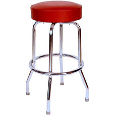 50's Retro Backless 24''H Swivel Bar Stool with Chrome Frame and Padded Seat - Wine Vinyl