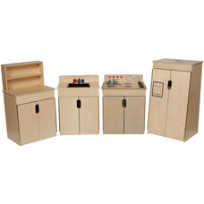 Tip-Me-Not Kitchen Appliances with Deluxe Hutch and Brown Accents - Set of 4 - 84