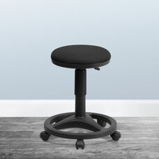 Black Ergonomic Stool with Foot Ring