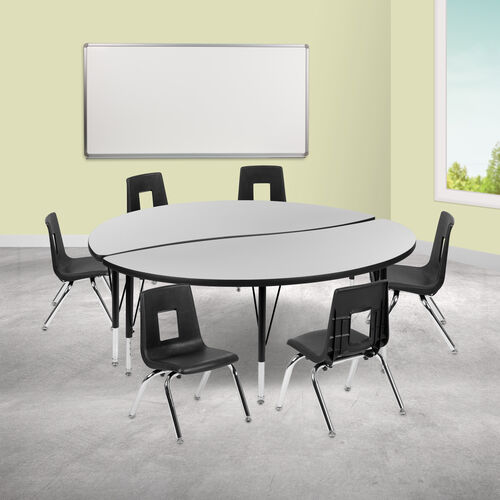 "Our 60"" Circle Wave Collaborative Laminate Activity Table Set with 14"" Student Stack Chairs, Grey/Black is on sale now."