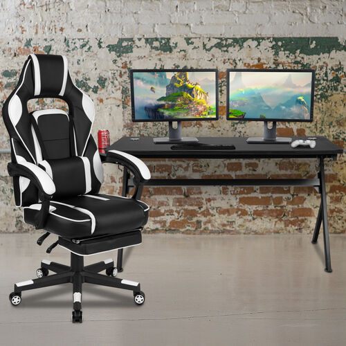 Our BlackArc Black Gaming Desk with Cup Holder/Headphone Hook/Removable Mousepad Top & White Reclining Back/Arms Gaming Chair with Footrest is on sale now.