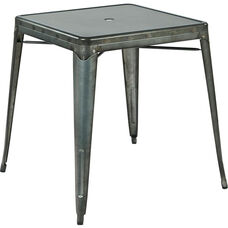 OSP Designs Bristow Metal Dining Table with Umbrella Hole - Matte Galvanized Finish