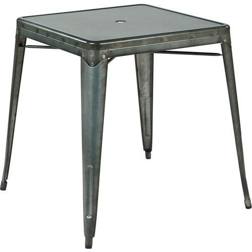 Our OSP Designs Bristow Metal Dining Table with Umbrella Hole - Matte Galvanized Finish is on sale now.