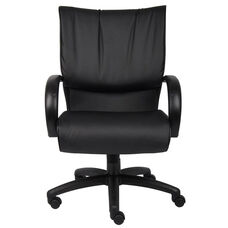 Mid Back LeatherPLUS Executive Chair with Padded Chrome Armrests - Black