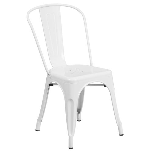 Our White Metal Indoor-Outdoor Stackable Chair is on sale now.