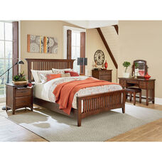 Inspired By Bassett Modern Mission King Bedroom Set with 2 Nightstands, 1 Chest, 1 Vanity, and 1 Bench