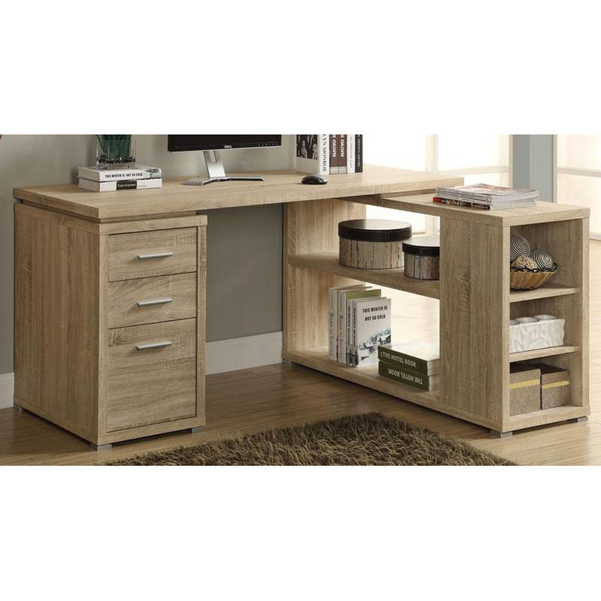 Our L Shaped Left Or Right Facing Home Office Desk With Open Shelves Natural