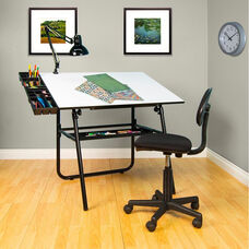 Ultima 4 Piece Drafting Table Set includes Drafting Chair and Storage Trays - Black