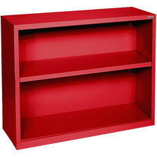 Elite Series 36'' W x 18'' D x 30'' H Two Shelf Welded Bookcase - Red