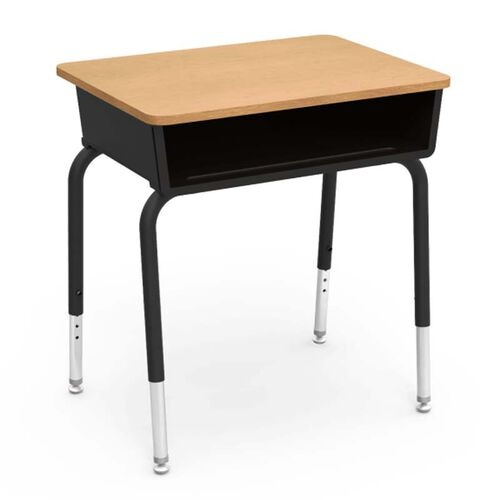 Our Quick Ship 785 Series Fusion Maple Laminate Top Student Desk with Black Open Front Plastic Book Box and Frame - 18
