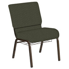 Embroidered 21''W Church Chair in Mirage Fern Fabric with Book Rack - Gold Vein Frame