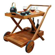 Malibu Outdoor Wood Serving Cart with Removable Serving Tray