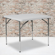 2.79-Foot Square Height Adjustable Granite White Plastic Folding Table